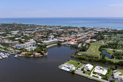 Aerial of Palm Beach and Worth Avenue